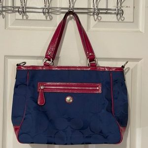 Coach Laura Signature Navy and Pink tote b…